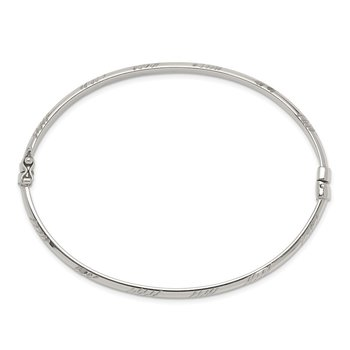 Sterling Silver D/C 4mm Bangle and 3mm Hoop Earring Set