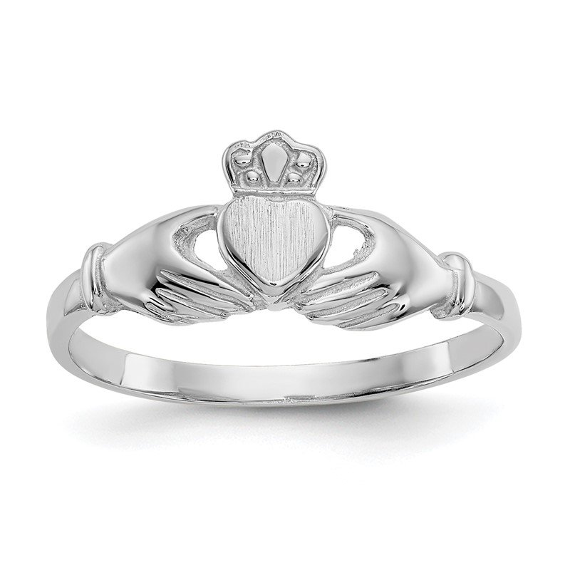 Quality Gold 14k White Gold Polished and Satin Claddagh Ring