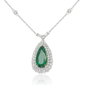 Double Halo Emerald Drop Necklace
