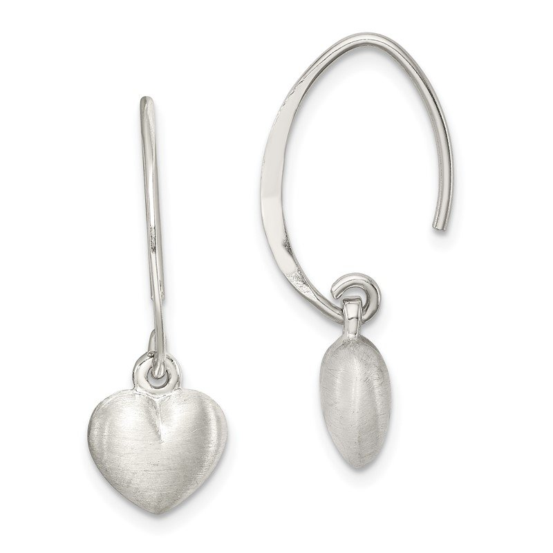 Quality Gold Sterling Silver Satin Heart Dangle Earrings