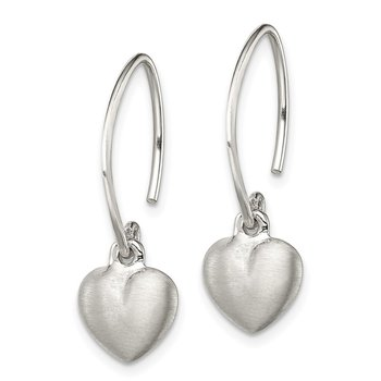 Sterling Silver Satin Heart Dangle Earrings