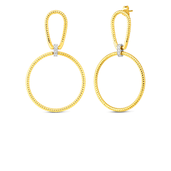 18K OPEN TWISTED STIRRUP & CIRCLE DROP ER WITH DIA ACCENT