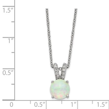 Cheryl M SS Rhod-plated Lab Created White Opal Cabochon & CZ 18in Necklace