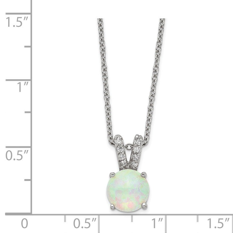 Cheryl M Cheryl M SS Rhod-plated Lab Created White Opal Cabochon & CZ 18in Necklace