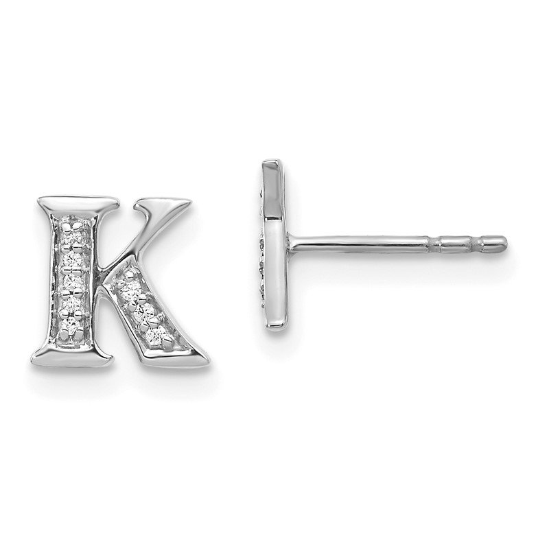 Quality Gold 14k White Gold Diamond Initial K Earrings