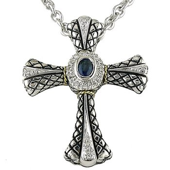 18kt and Sterling Silver Diamond and Sapphire Cross Pendant with Chain