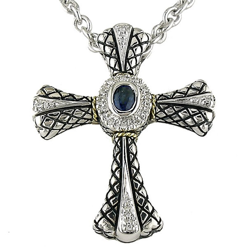Andrea Candela 18kt and Sterling Silver Diamond and Sapphire Cross Pendant with Chain