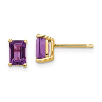 14k 6x4mm Emerald Cut Amethyst Earrings