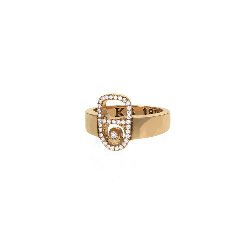 King Baby 18K Gold Pop Top Ring With Pave Diamonds
