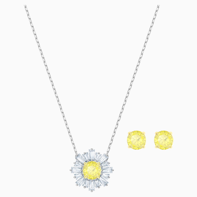Swarovski Sunshine Set, White, Mixed metal finish