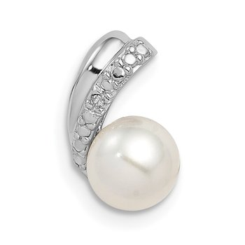 Sterling Silver Rhod Plated Diamond and FWC Pearl Chain Slide