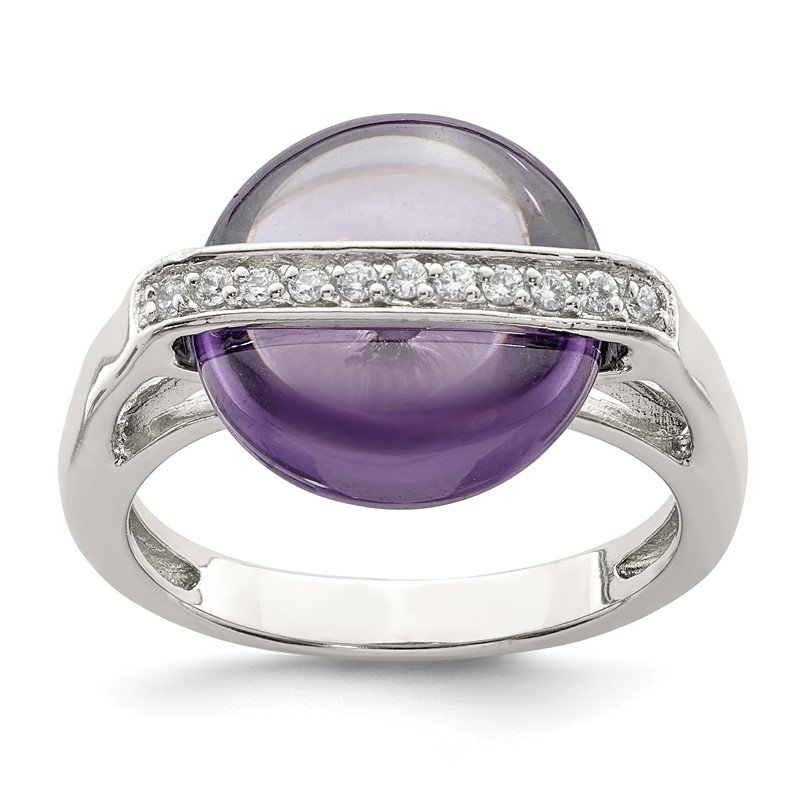 Quality Gold Sterling Silver Amethyst and CZ Ring