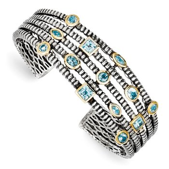 Sterling Silver/Gold-tone Sky/Swiss/London Blue Topaz Cuff Bracelet