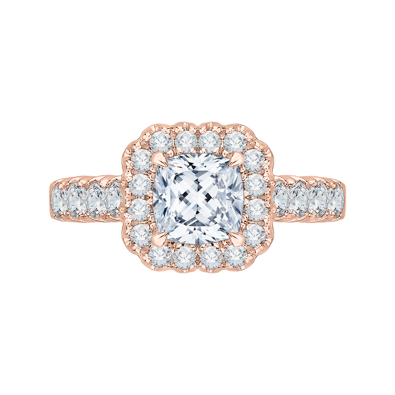 Carizza 14K Rose Gold Cushion Cut Diamond Halo Engagement Ring (Semi-Mount)