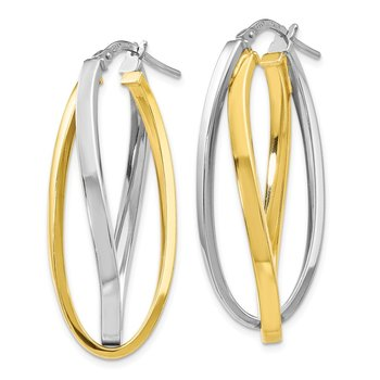 Leslie's Sterling Silver Gold-tone Polished Hoop Earrings