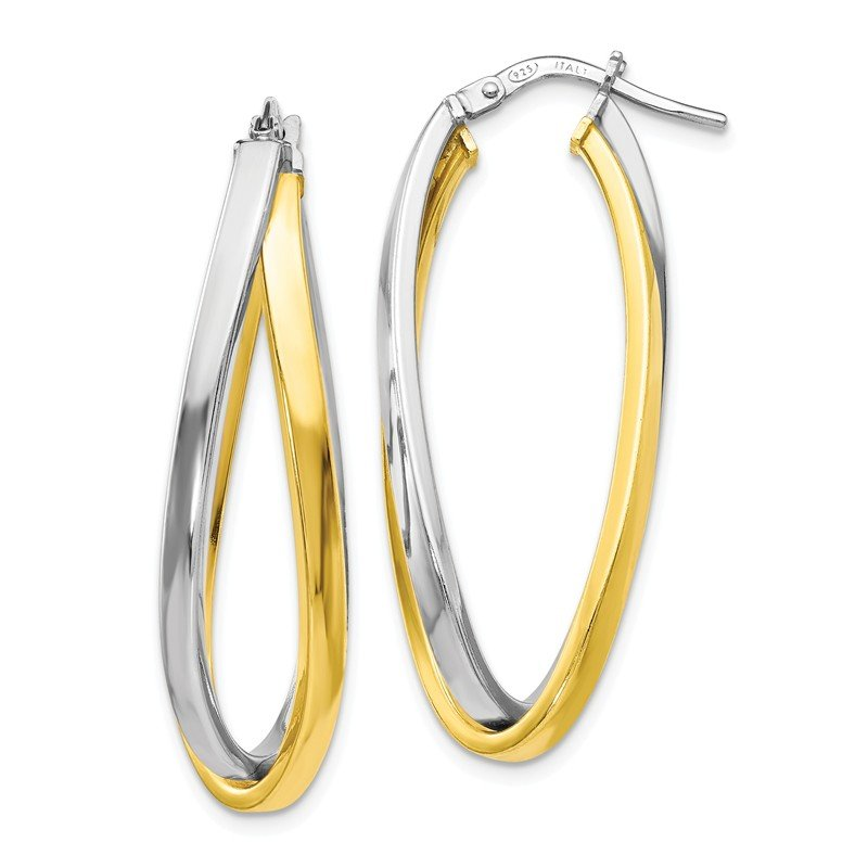 Leslie's Leslie's Sterling Silver Gold-tone Polished Hoop Earrings