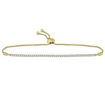 10kt Yellow Gold Womens Round Diamond Bolo Bracelet 1.00 Cttw