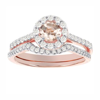 14k Rose Gold 1/2ct TDW Diamond and Morganite Halo Bridal Set