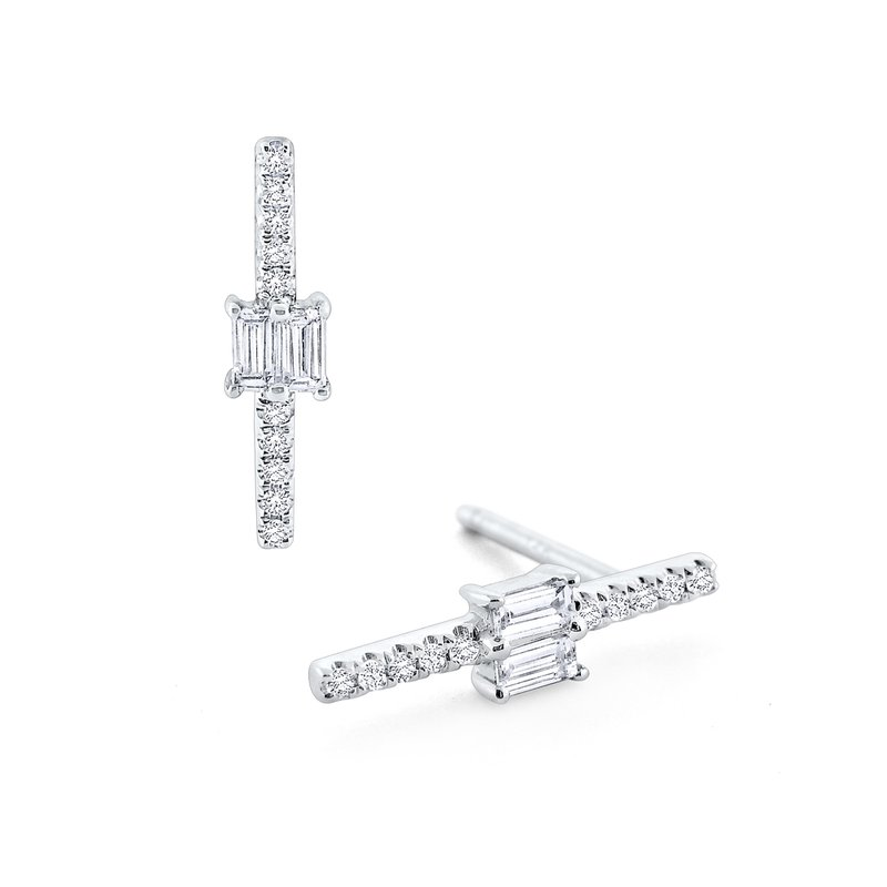 KC Designs Linear Diamond Mosaic Stud Earrings in 14K White Gold