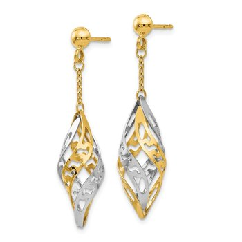 Leslie's 14k Two-tone Polished Post Dangle Earrings