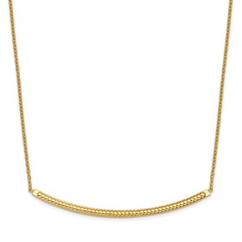 Leslie's 14k Polished Diamond-cut with 2in ext. Bar Necklace