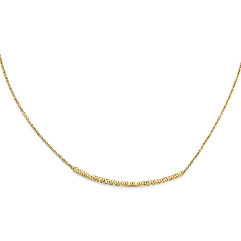Leslie's 14K Polished D/C with 2in ext. Bar Necklace