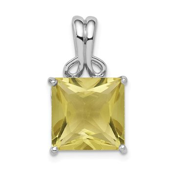 Sterling Silver Rhodium-plated Lemon Quartz Pendant