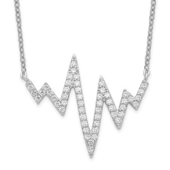 Sterling Silver Rhodium-plated CZ Heartbeat Necklace