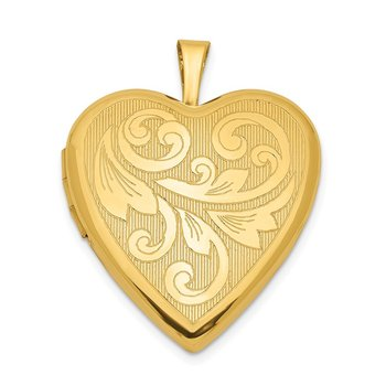 Sterling Silver 20mm Gold Plated Textured/Polish Swirl Heart Locket