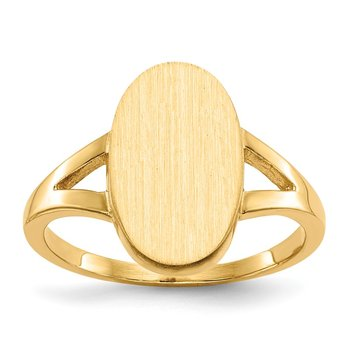 14k 14.5x8.5mm Closed Back Signet Ring
