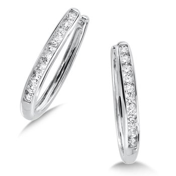 Channel set Diamond Oval Hoops in 14k White Gold (1/4 ct. tw.) HI/SI2-SI3