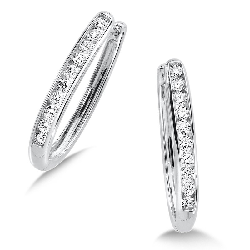 SDC Creations Channel set Diamond Oval Hoops in 14k White Gold (1/4 ct. tw.) HI/SI2-SI3