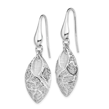 Sterling Silver Rhodium Plated Oval Leaf Dangle Earrings