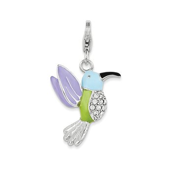 Sterling Silver RH Enamel and Swarovski Crystals Hummingbird Charm
