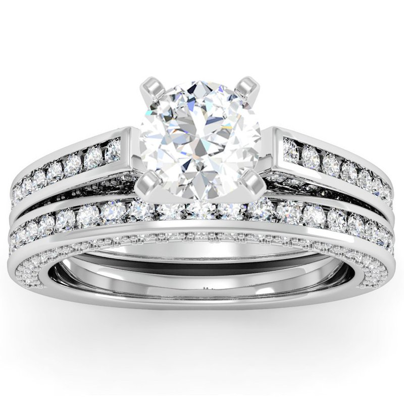 Pave Channel Diamond Engagement Ring With Matching Wedding Band
