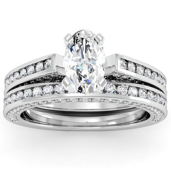 Pave & Channel Diamond Engagement Ring with Matching Wedding Band