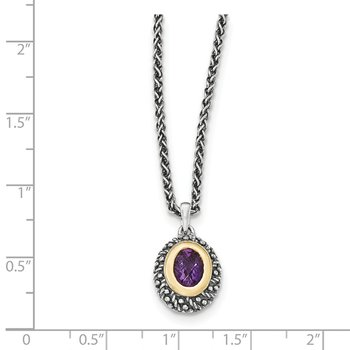 Sterling Silver w/14k Amethyst Necklace