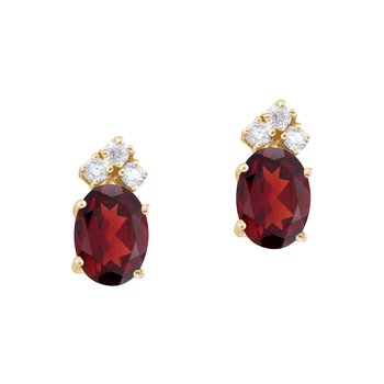 14k Yellow Gold Garnet And Diamond Oval Earrings