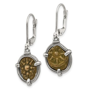 Sterling Silver Antiqued Widows Mite Coin Leverback Earrings