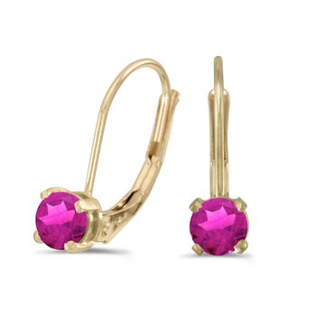 14k Yellow Gold Round Pink Topaz Lever-back Earrings