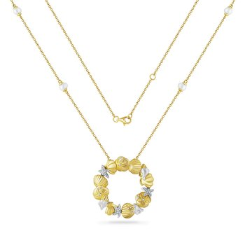 circle of life necklace with 4 cultured pearls & 42 diamonds 0.17CT 30mm long X 30mm wide