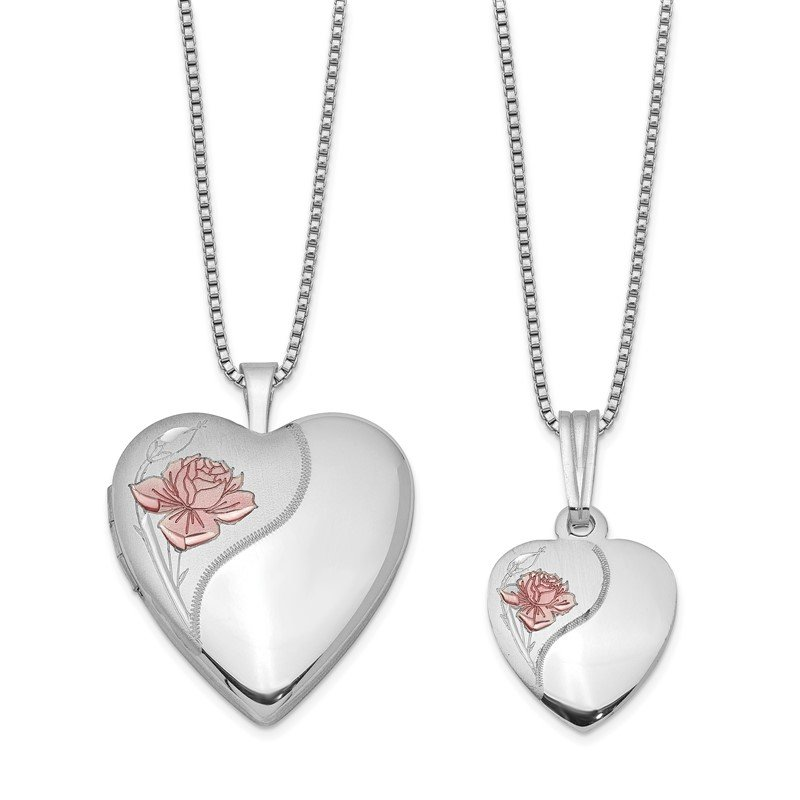 Quality Gold Sterling Silver RH-plated Polished & Satin Rose Heart Locket & Pendant Neck