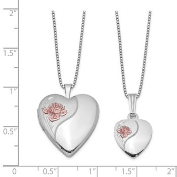 Sterling Silver RH-plated Polished & Satin Rose Heart Locket & Pendant Neck