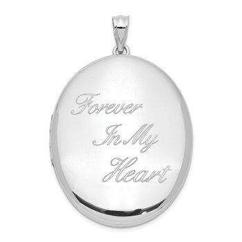 Sterling Silver Rhodium-plated Forever In My Heart Ash Holder Oval Locket