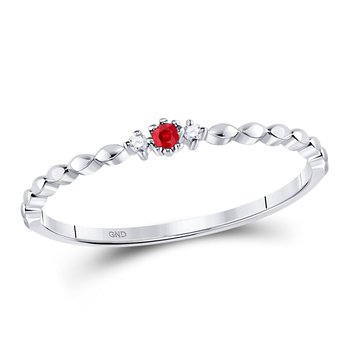 10kt White Gold Womens Round Ruby Solitaire Diamond Stackable Band Ring .03 Cttw