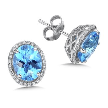 Blue Topaz and Diamond Post Earrings in 14K White Gold