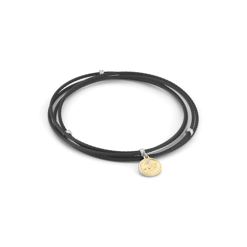 ALOR Black Cable Affirmation Bangle with Diamond Joy Charm