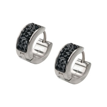 Black Gem Huggies Earrings