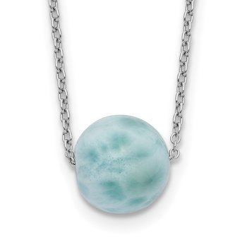 Sterling Silver Rhodium-plated Larimar Bead w/ 2in ext. Necklace