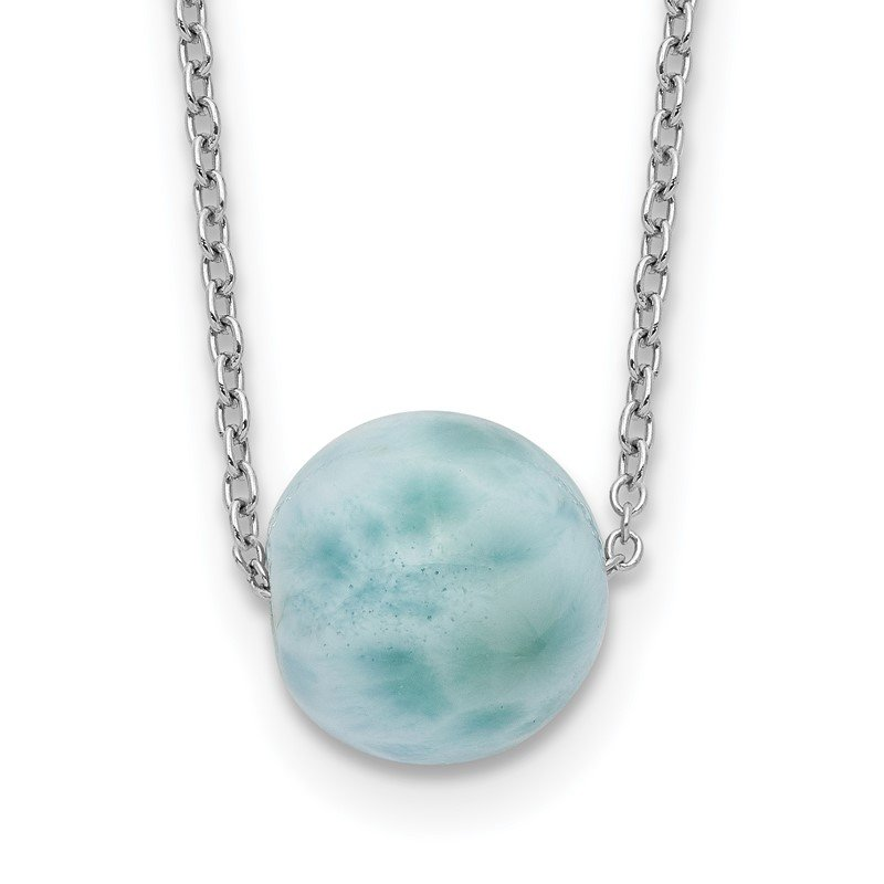 Quality Gold Sterling Silver Rhodium-plated Larimar Bead w/ 2in ext. Necklace